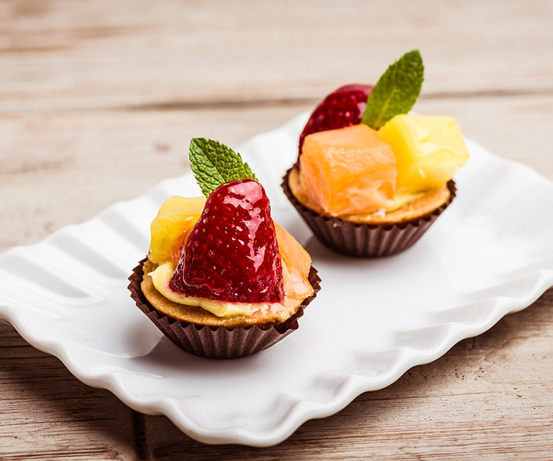Chantilly tarts and fresh seasonal fruit